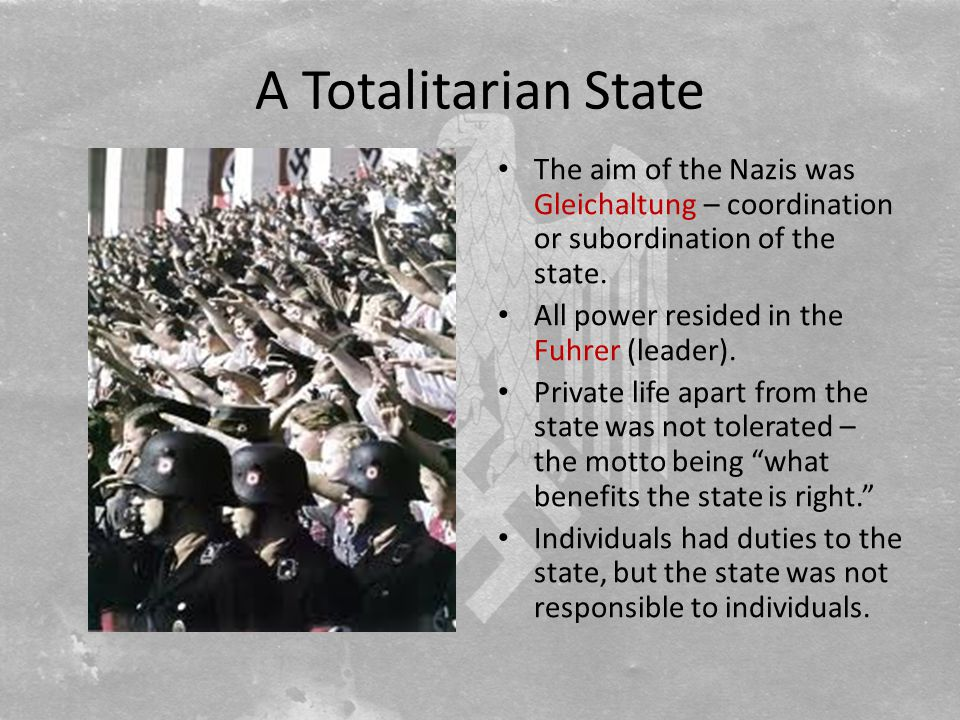 A Totalitarian State The aim of the Nazis was Gleichaltung – coordination or subordination of the state.