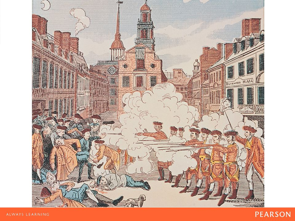 The Boston Massacre This etching by Paul Revere shows British redcoats firing on ordinary citizens, an event know as the Boston Massacre.