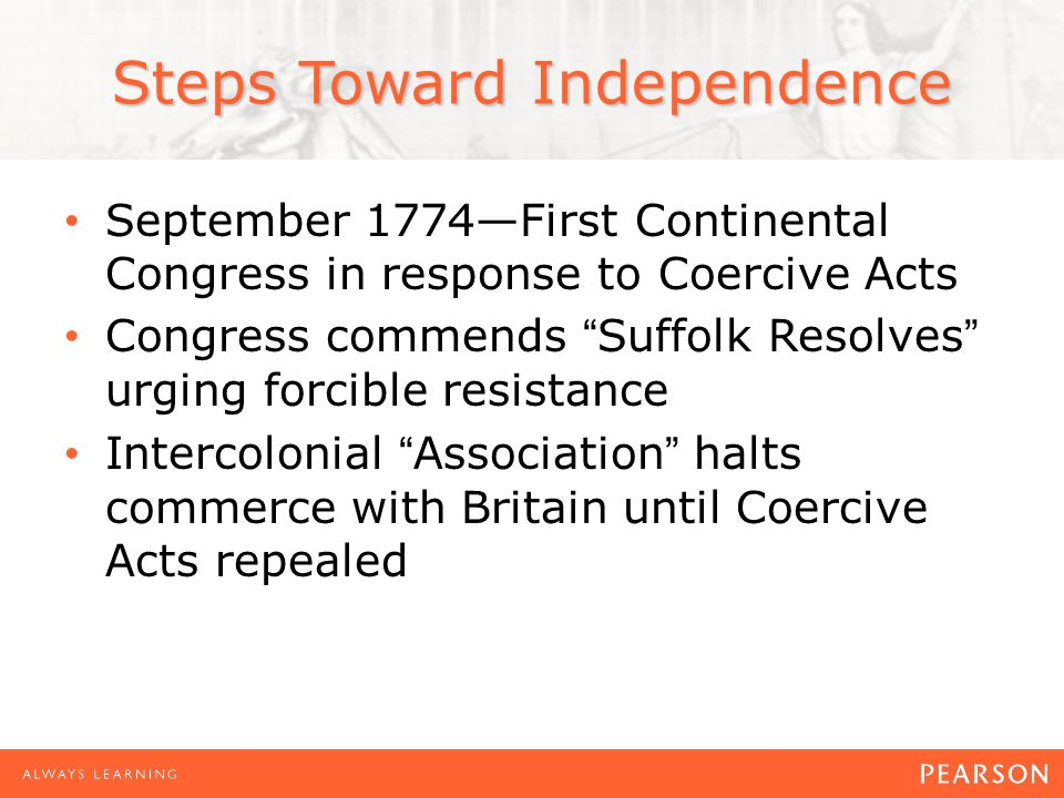September 1774—First Continental Congress in response to Coercive Acts Congress commends Suffolk Resolves urging forcible resistance Intercolonial Association halts commerce with Britain until Coercive Acts repealed