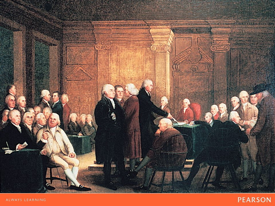 Congress Voting Independence Oil painting by Robert Edge Pine and Edward Savage, 1785.