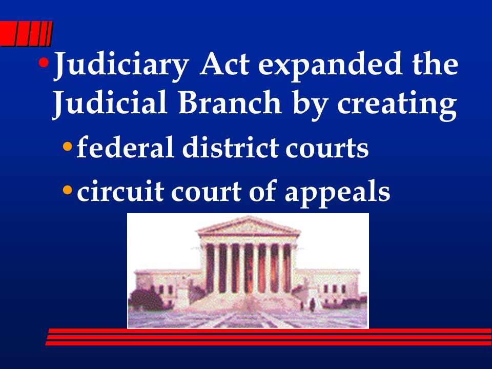 Judiciary Act expanded the Judicial Branch by creating federal district courts circuit court of appeals