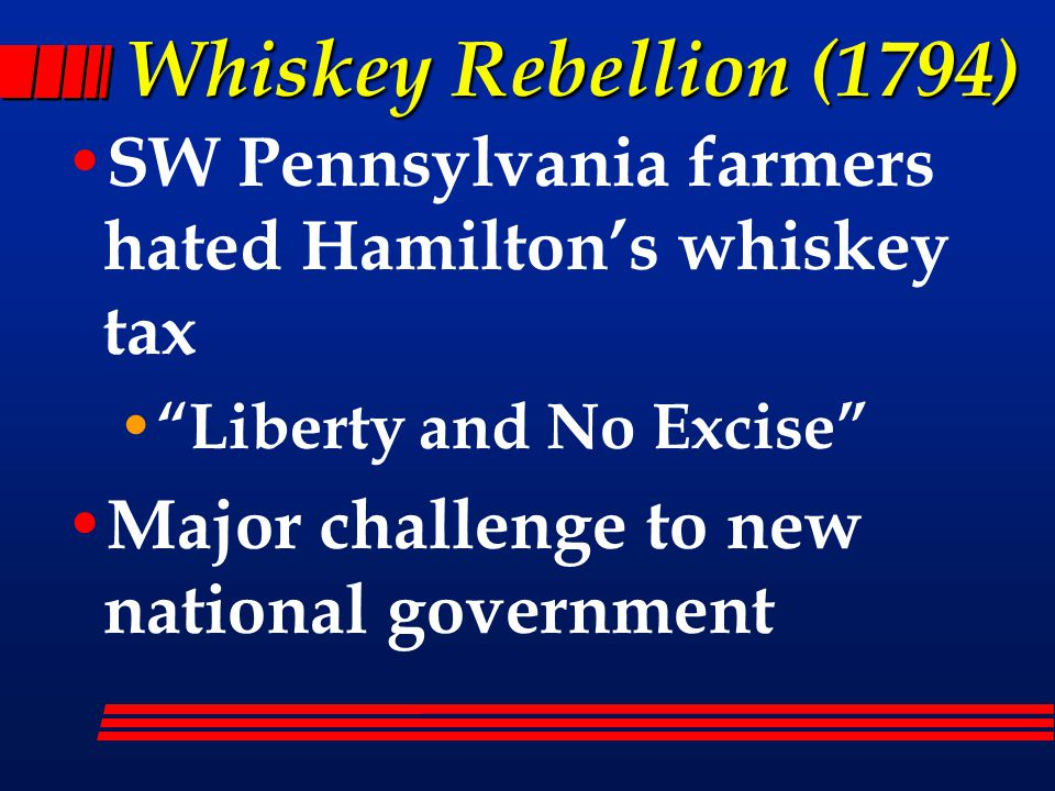 Whiskey Rebellion (1794) SW Pennsylvania farmers hated Hamilton's whiskey tax Liberty and No Excise Major challenge to new national government