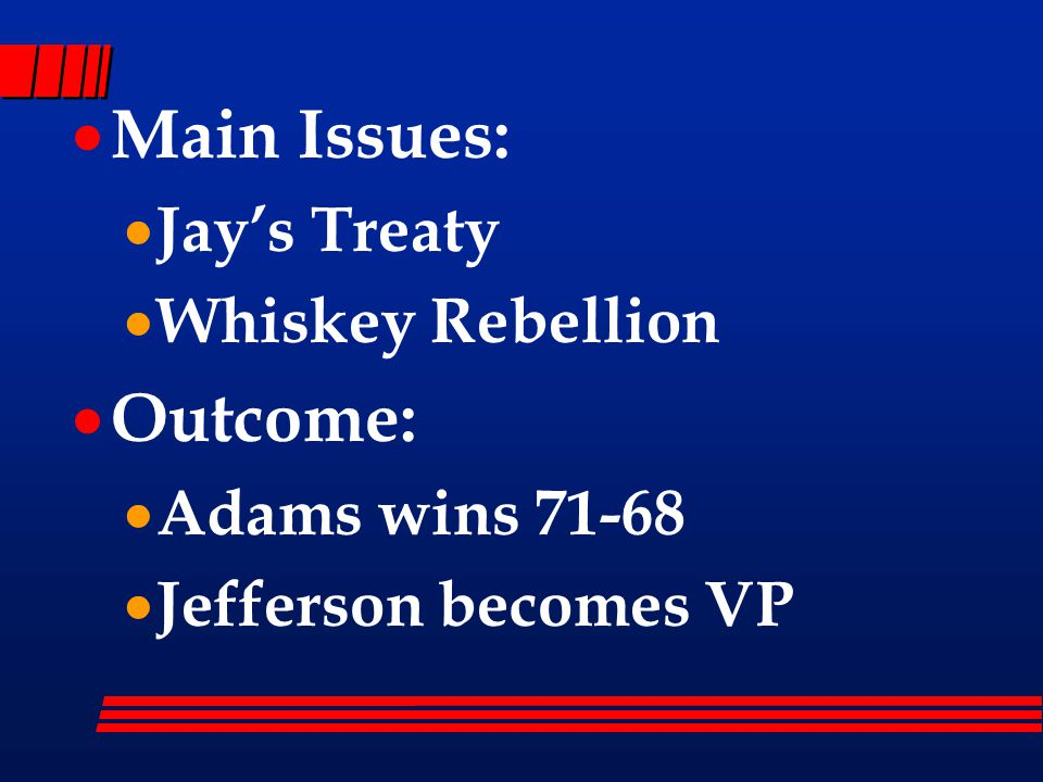  Main Issues:  Jay's Treaty  Whiskey Rebellion  Outcome:  Adams wins 71-68  Jefferson becomes VP