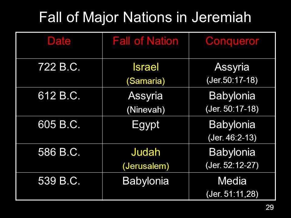 29 Fall of Major Nations in Jeremiah DateFall of NationConqueror 722 B.C.Israel (Samaria) Assyria (Jer.50:17-18) 612 B.C.Assyria (Ninevah) Babylonia (Jer.