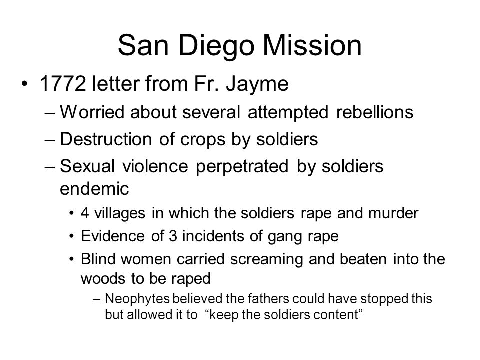 San Diego Mission 1772 letter from Fr.