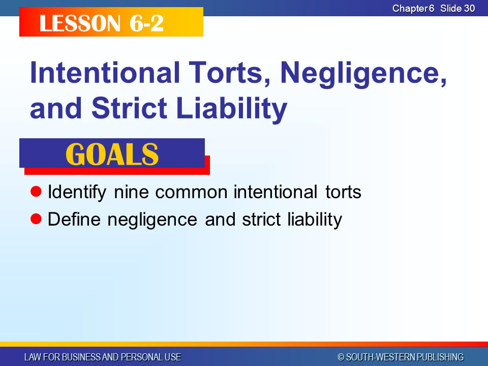 LAW FOR BUSINESS AND PERSONAL USE © SOUTH-WESTERN PUBLISHING Chapter 6Slide 31 COMMON INTENTIONAL TORTS Intentional torts - torts for which the defendant intended either the injury or the act Assault Battery False imprisonment Defamation Invasion of privacy Trespass to land Conversion Interference with contractual relations Fraud