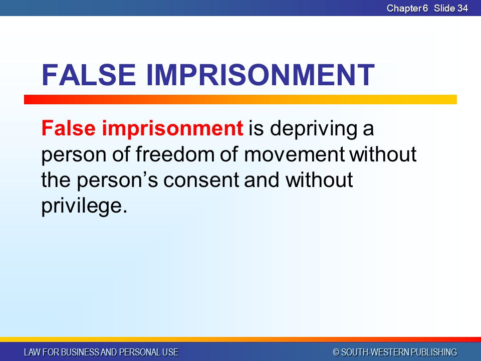 LAW FOR BUSINESS AND PERSONAL USE © SOUTH-WESTERN PUBLISHING Chapter 6Slide 35 DEFAMATION If a false statement injures a person's reputation, it may constitute the tort of defamation.