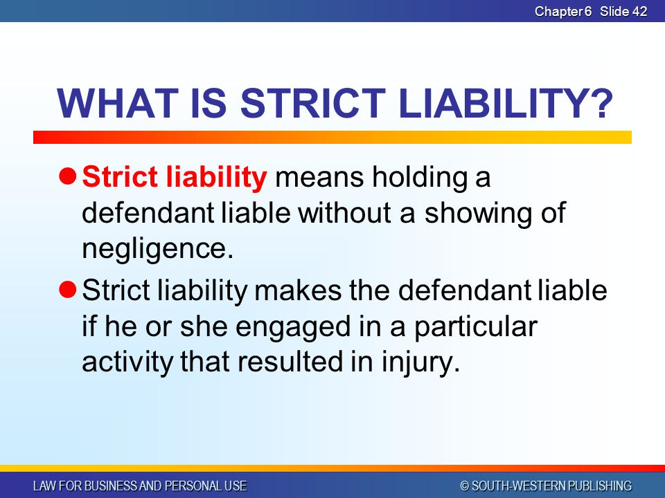 LAW FOR BUSINESS AND PERSONAL USE © SOUTH-WESTERN PUBLISHING Chapter 6 Slide 43 Civil Procedure Discuss what damages are available to victims of torts Explain the various stages of a civil suit LESSON 6-3 GOALS