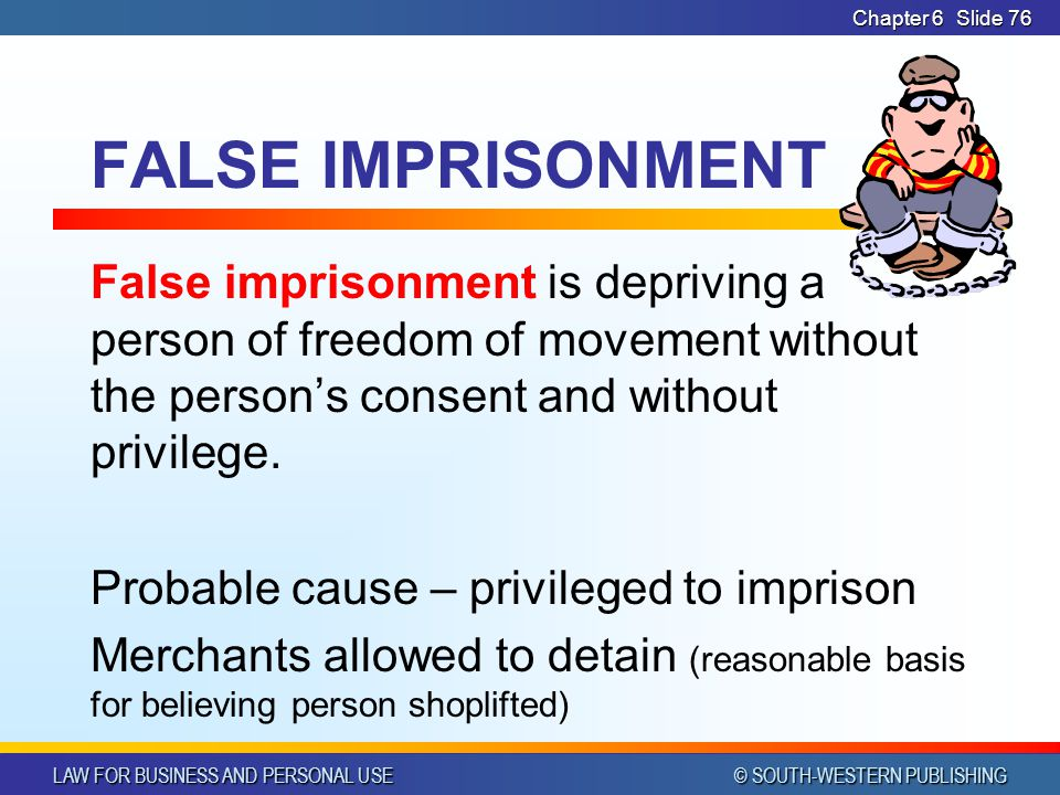 LAW FOR BUSINESS AND PERSONAL USE © SOUTH-WESTERN PUBLISHING Chapter 6Slide 77 DEFAMATION If a false statement injures a person's reputation, it may constitute the tort of defamation.