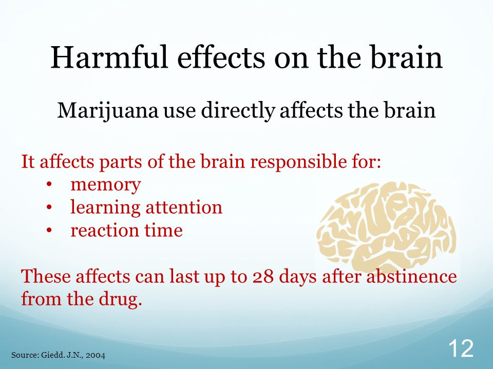 Harmful effects on the brain Marijuana use directly affects the brain It affects parts of the brain responsible for: memory learning attention reaction time These affects can last up to 28 days after abstinence from the drug.