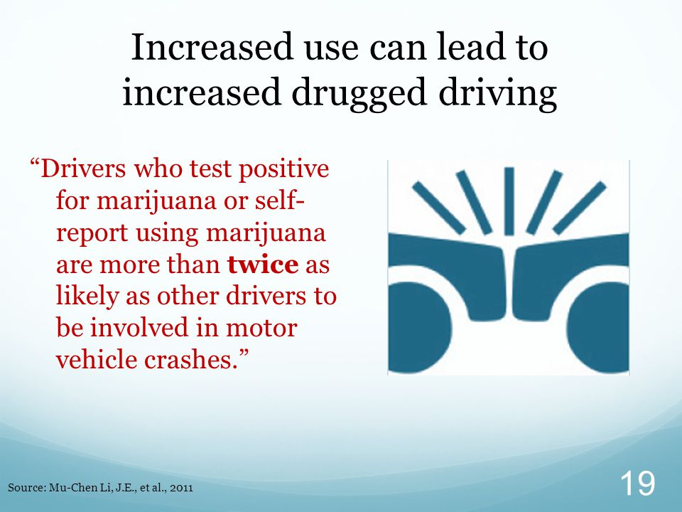 Increased use can lead to increased drugged driving Drivers who test positive for marijuana or self- report using marijuana are more than twice as likely as other drivers to be involved in motor vehicle crashes. 19 Source: Mu-Chen Li, J.E., et al., 2011