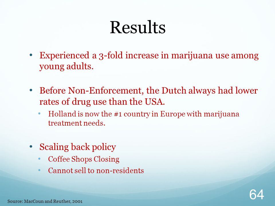 Experienced a 3-fold increase in marijuana use among young adults.