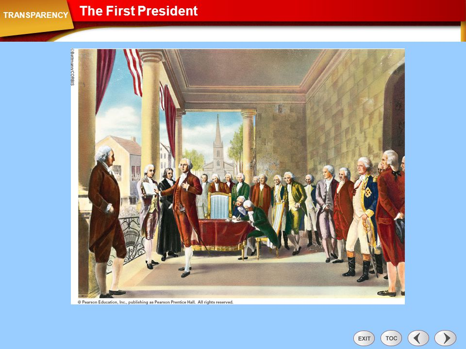 The First President Transparency: The First President TRANSPARENCY