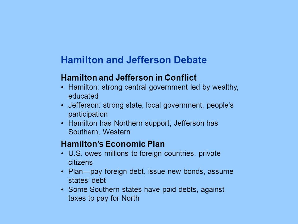 Hamilton and Jefferson in Conflict Hamilton: strong central government led by wealthy, educated Jefferson: strong state, local government; people's pa