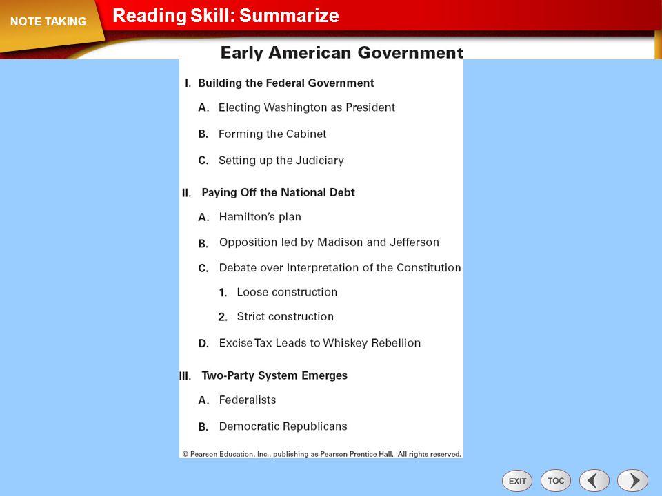 Reading Skill: Summarize Note Taking: Reading Skill: Summarize NOTE TAKING
