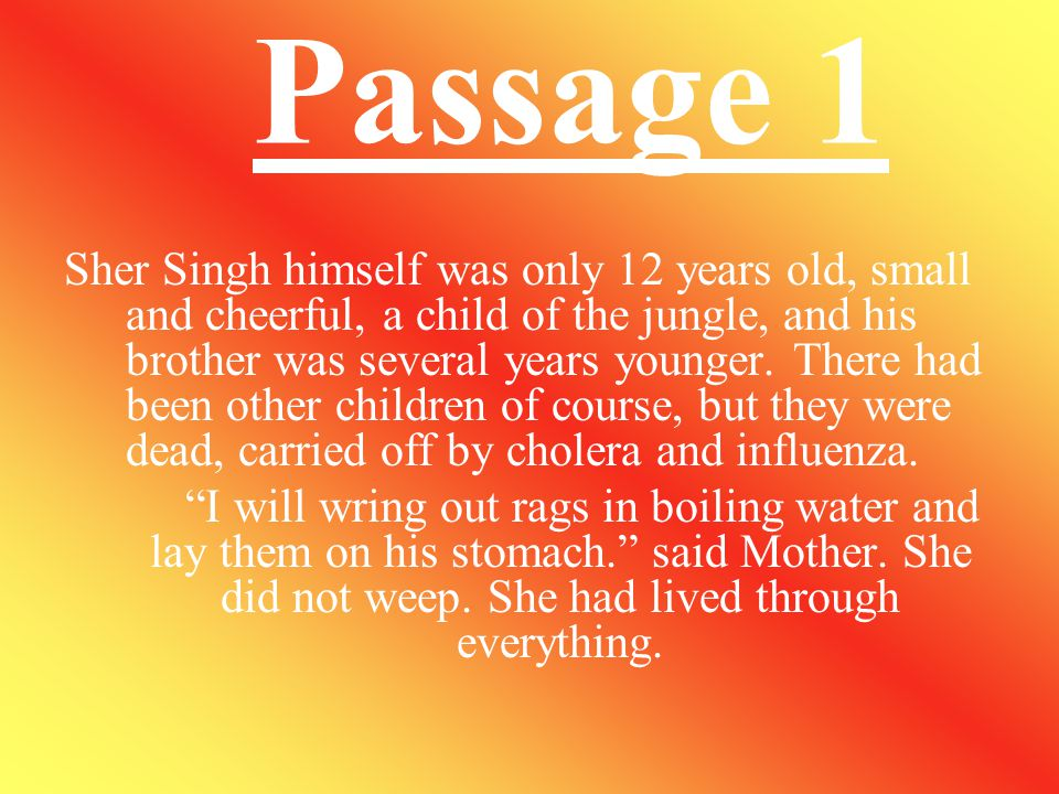 Que.4 How did Sher Singh carry his brother? Ans. Sher Singh's mother took one of her two saris. She made a sling with it. Sher Singh put it round his