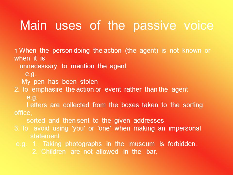 Rules Active passive 1. present Simple 1st form of the verb + s\es is,am,are- third form do,does(not)_1st form is,am,are- not-3rd form 2. Past Simple