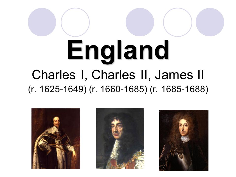 England Charles I, Charles II, James II (r. 1625-1649) (r. 1660-1685) (r. 1685-1688)