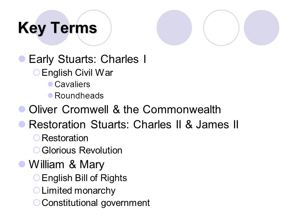 Key Terms Early Stuarts: Charles I  English Civil War Cavaliers Roundheads Oliver Cromwell & the Commonwealth Restoration Stuarts: Charles II & James