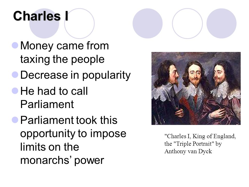 Charles I Money came from taxing the people Decrease in popularity He had to call Parliament Parliament took this opportunity to impose limits on the