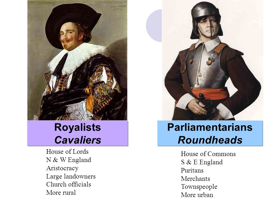 Royalists Cavaliers Parliamentarians Roundheads House of Lords N & W England Aristocracy Large landowners Church officials More rural House of Commons