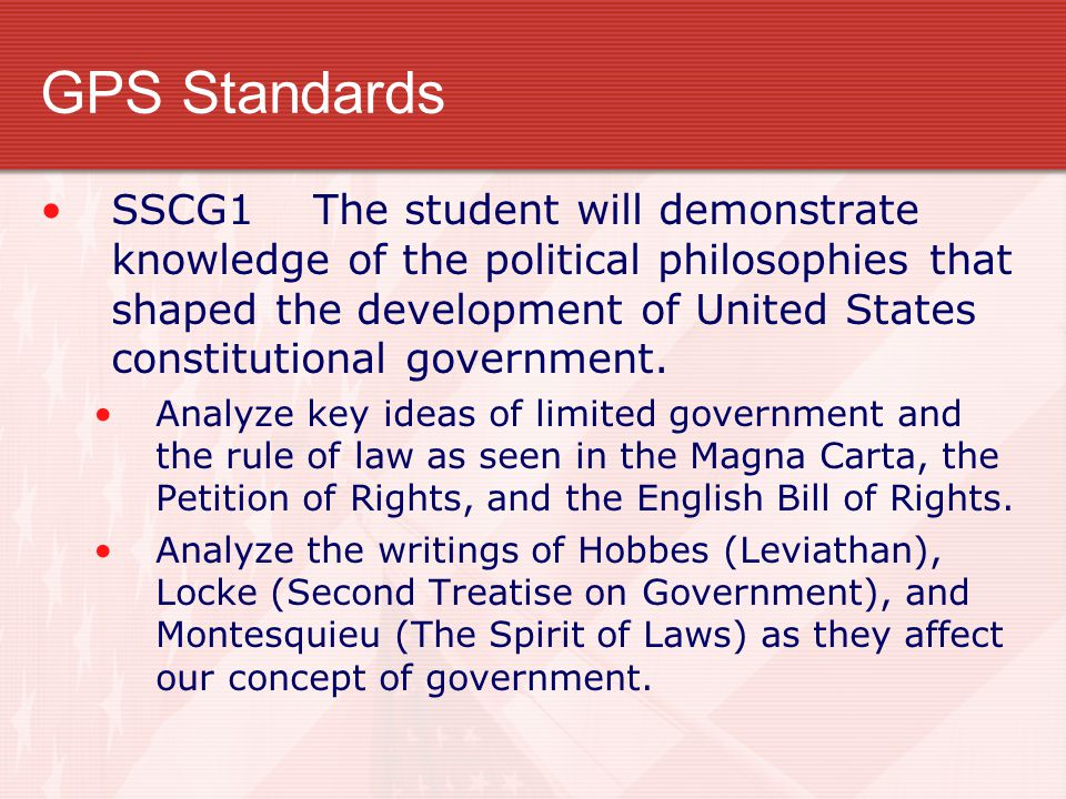 GPS Standards SSCG1 The student will demonstrate knowledge of the political philosophies that shaped the development of United States constitutional government.