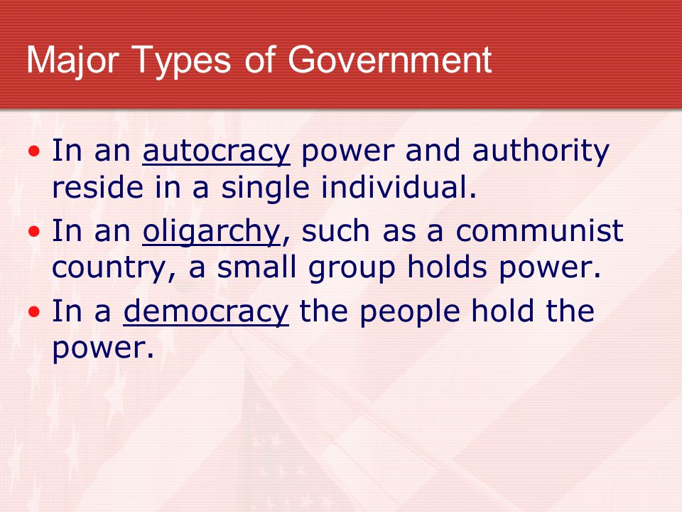 Politics and Government Politics is the effort to control or influence the policies and actions of government. Special interest groups seek special be