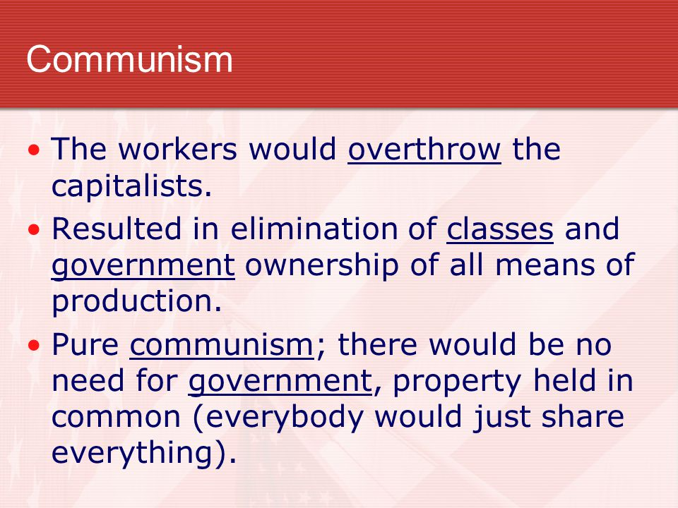 Communism Karl Marx - The Communist Manifesto. There were two groups, the wealthy capitalists called the bourgeoisie, and the workers called the prole