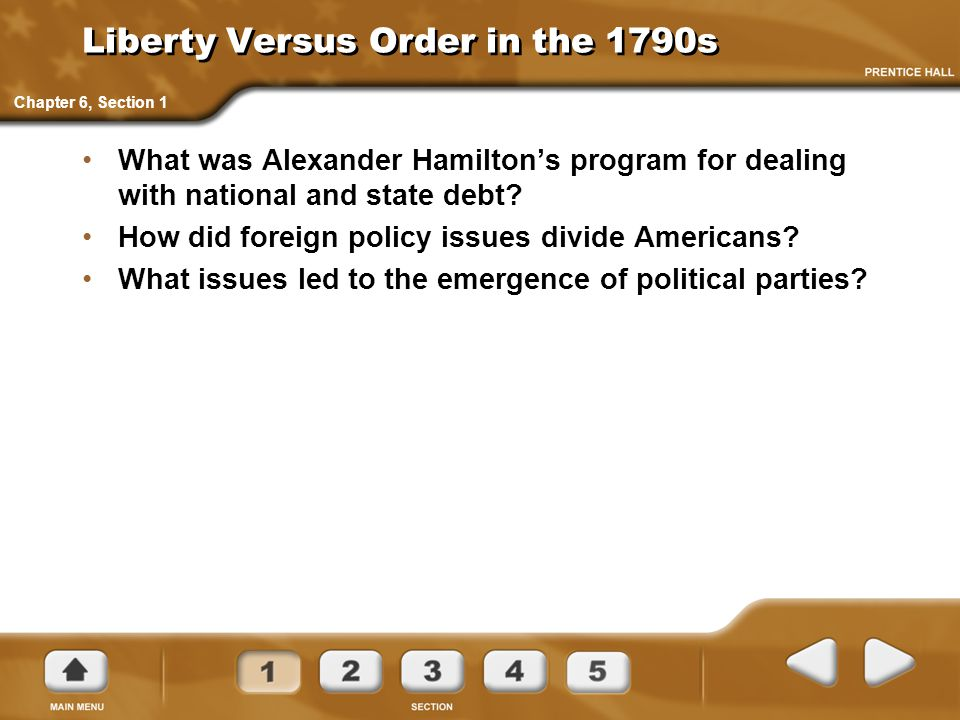 Hamilton's Program As Treasury Secretary, Alexander Hamilton was responsible for developing an economic program that would help repay the huge debts incurred during the Revolution.