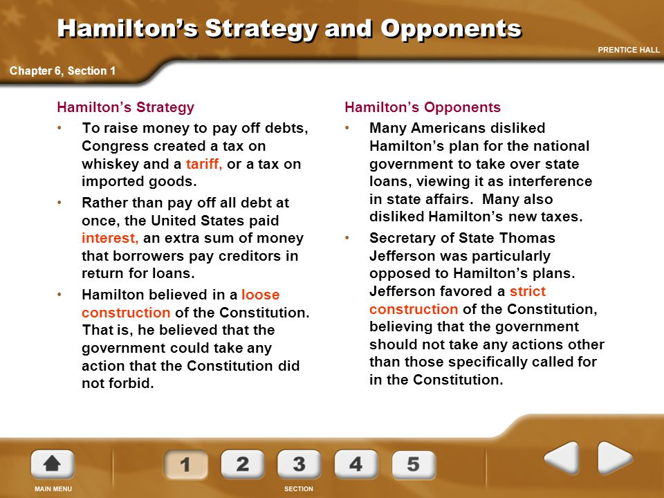 Hamilton's Strategy and Opponents Hamilton's Strategy To raise money to pay off debts, Congress created a tax on whiskey and a tariff, or a tax on imp