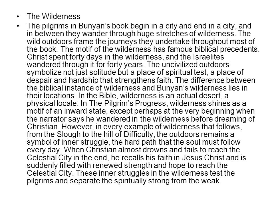 The Wilderness The pilgrims in Bunyan's book begin in a city and end in a city, and in between they wander through huge stretches of wilderness. The w