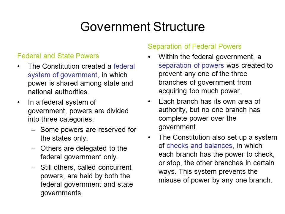 Government Structure Federal and State Powers The Constitution created a federal system of government, in which power is shared among state and nation