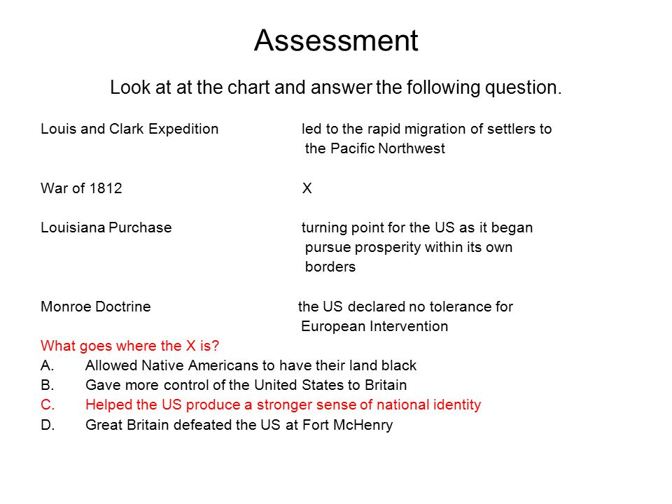 Assessment Look at at the chart and answer the following question. Louis and Clark Expedition led to the rapid migration of settlers to the Pacific No