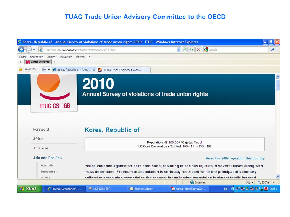Violation of trade union rights in Korea as reported by the ITUC Worsening repression of union organising Illegal strikes and police violence: Collective action often becomes illegal , even when it is not in essential services, given the complicated legal procedures for organising a strike.