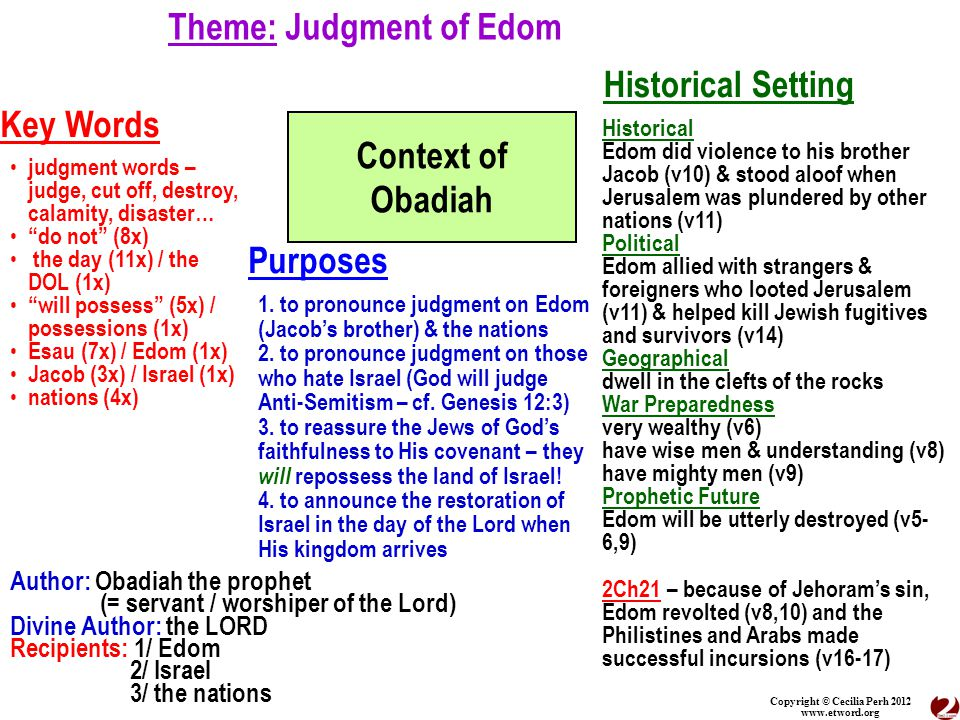 Copyright © Cecilia Perh 2012 www.etword.org Theme: Judgment of Edom Context of Obadiah Historical Setting Key Words Purposes Author: Obadiah the prophet (= servant / worshiper of the Lord) Divine Author: the LORD Recipients: 1/ Edom 2/ Israel 3/ the nations 1.
