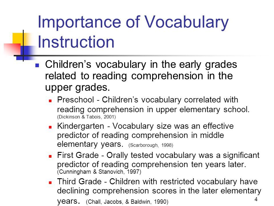 4 Importance of Vocabulary Instruction Children's vocabulary in the early grades related to reading comprehension in the upper grades.