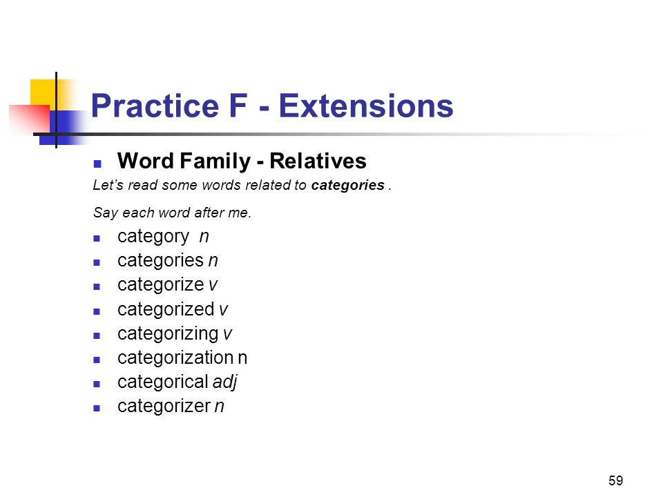 59 Practice F - Extensions Word Family - Relatives Let's read some words related to categories.