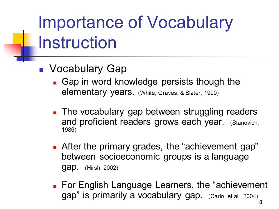 8 Importance of Vocabulary Instruction Vocabulary Gap Gap in word knowledge persists though the elementary years.