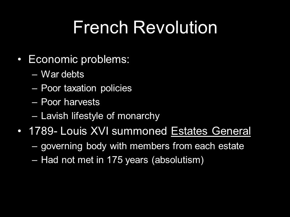 French Revolution Conflict between the estates at the meeting June 17, 1789- Third Estate declares themselves the National Assembly July 14, 1789- storming of Bastille August, 1789- Declaration of Rights of Man