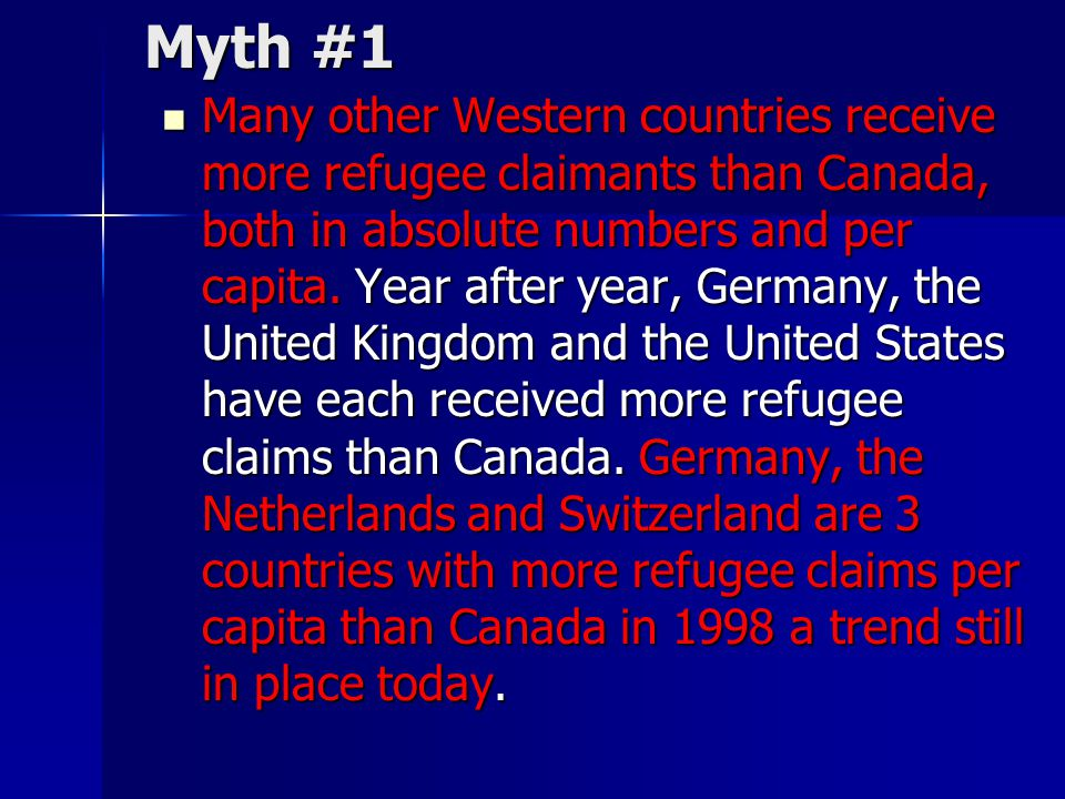 Myth #1 Many other Western countries receive more refugee claimants than Canada, both in absolute numbers and per capita. Year after year, Germany, th
