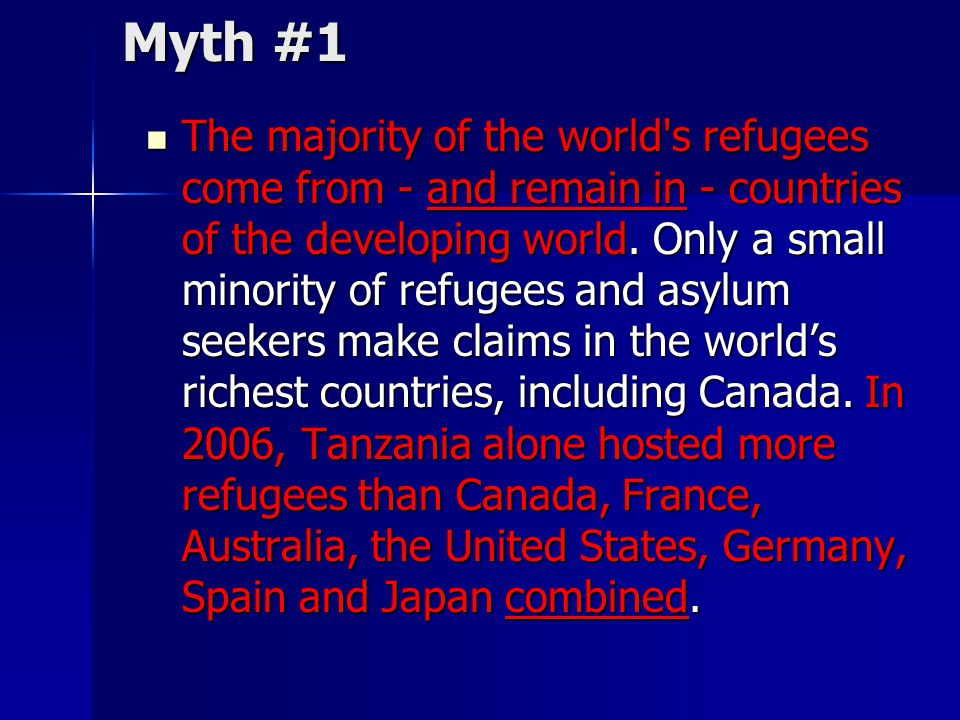 Myth #1 The majority of the world's refugees come from - and remain in - countries of the developing world. Only a small minority of refugees and asyl