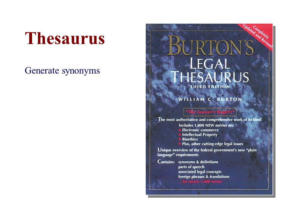 Thesaurus Generate synonyms