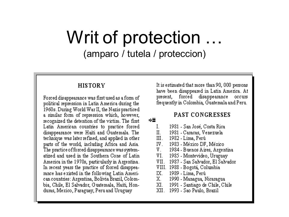 Writ of protection … (amparo / tutela / proteccion)