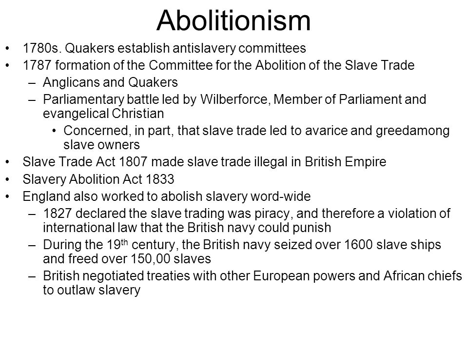 Abolitionism 1780s.