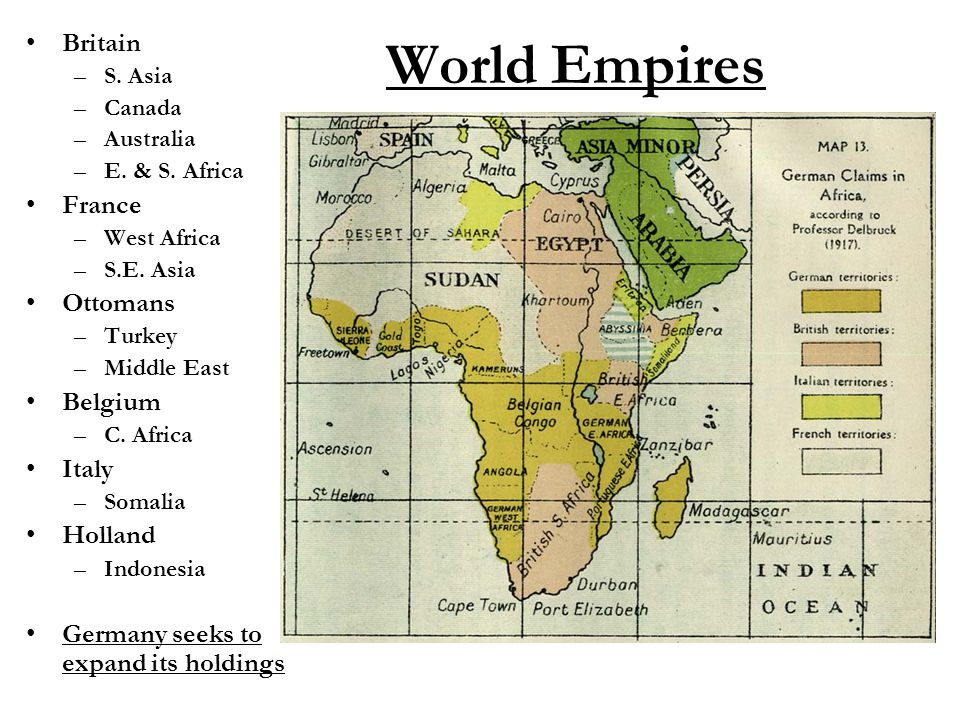 World Empires Britain –S. Asia –Canada –Australia –E. & S. Africa France –West Africa –S.E. Asia Ottomans –Turkey –Middle East Belgium –C. Africa Ital
