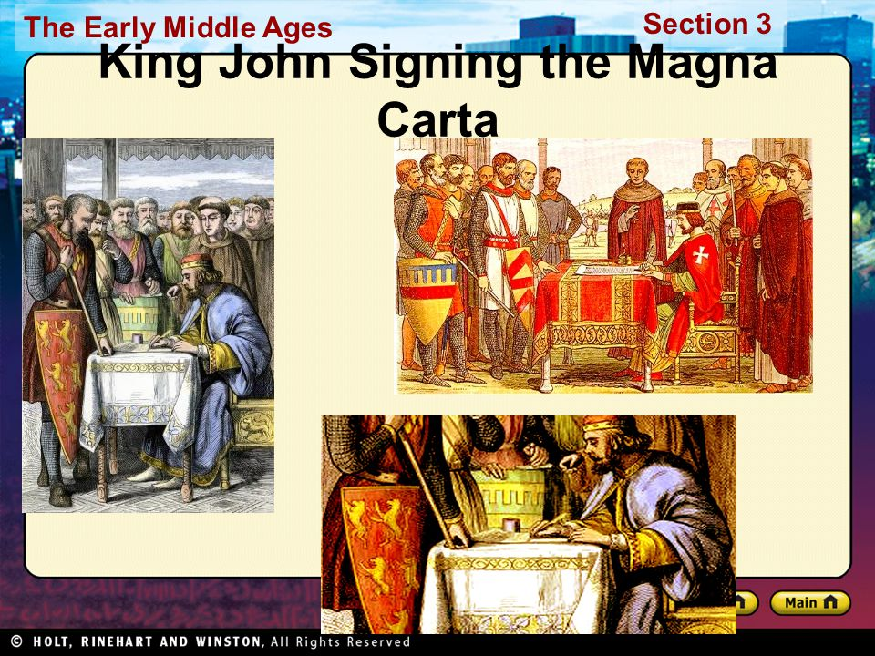 The Early Middle Ages Section 3 King John Signing the Magna Carta