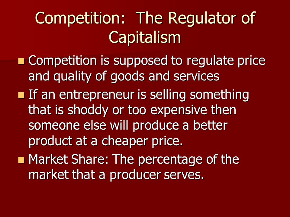 Pure Capitalism Role of Government Role of Government  since The Three Questions are answered by the market the government is supposed to stay out of it  Military?, Police?, Fire?, Schools?, Roads.