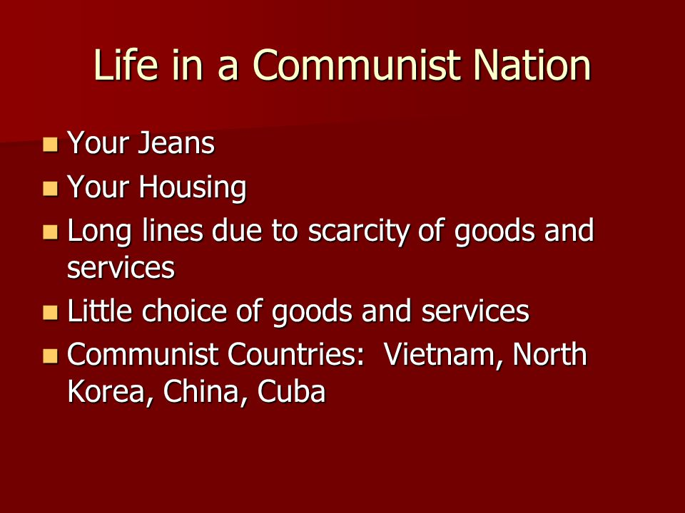Problems With Communism Who gets what.Not everyone needs the same things.