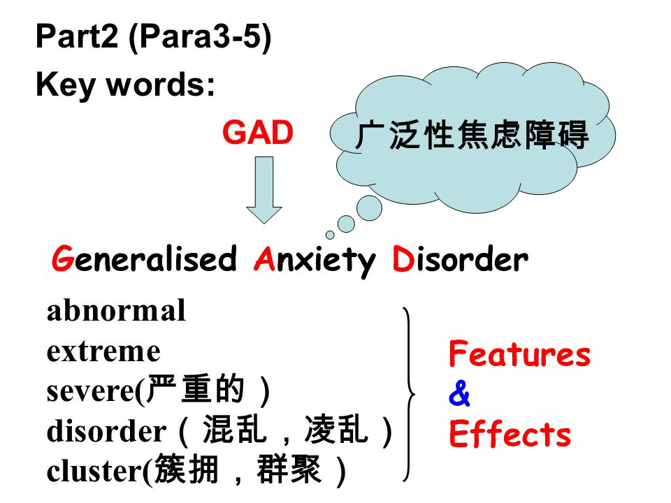 Part2 (Para3-5) Key words: GAD Generalised Anxiety Disorder abnormal extreme severe( 严重的) disorder (混乱,凌乱) cluster( 簇拥,群聚) 广泛性焦虑障碍 Features & Effects