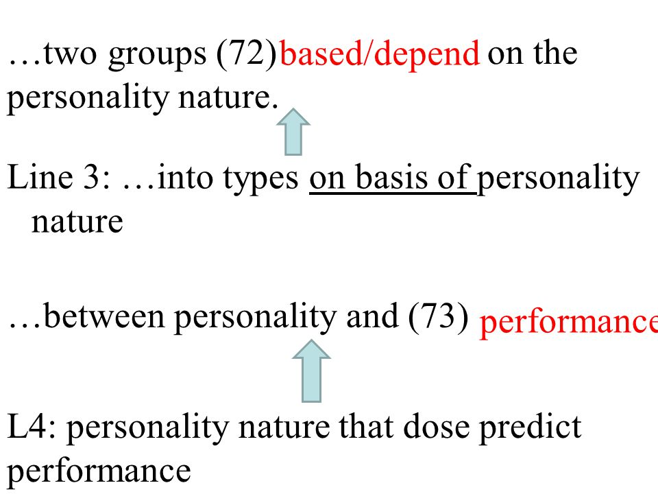 …two groups (72) on the personality nature. Line 3: …into types on basis of personality nature …between personality and (73) L4: personality nature th